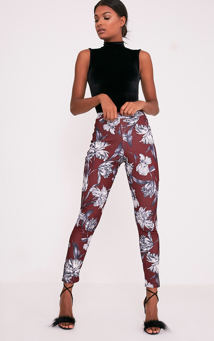 Anaya Burgundy Floral Cigarette Trousers 1
