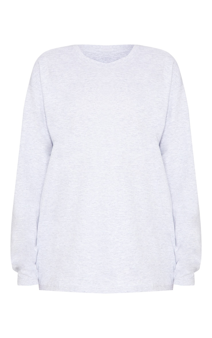 Grey Marl Long Sleeve Oversized Top 3