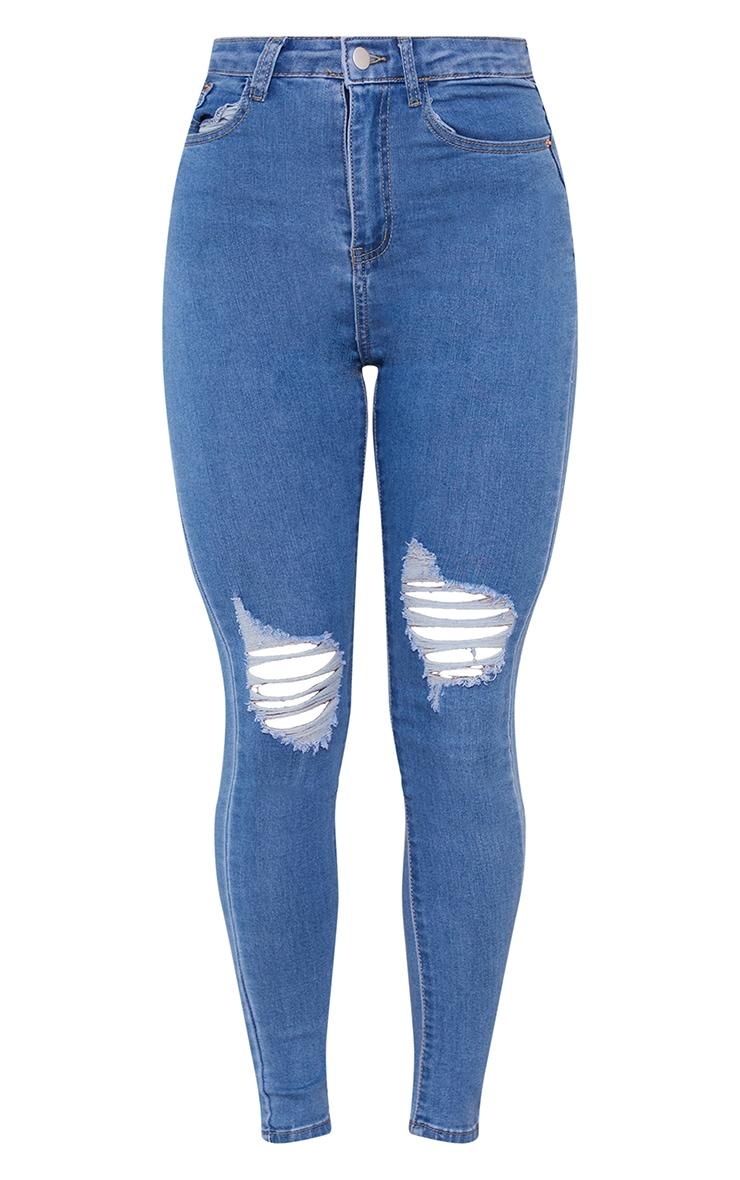 PRETTYLITTLETHING Light Wash Knee Rip 5 Pocket Skinny Jean 5