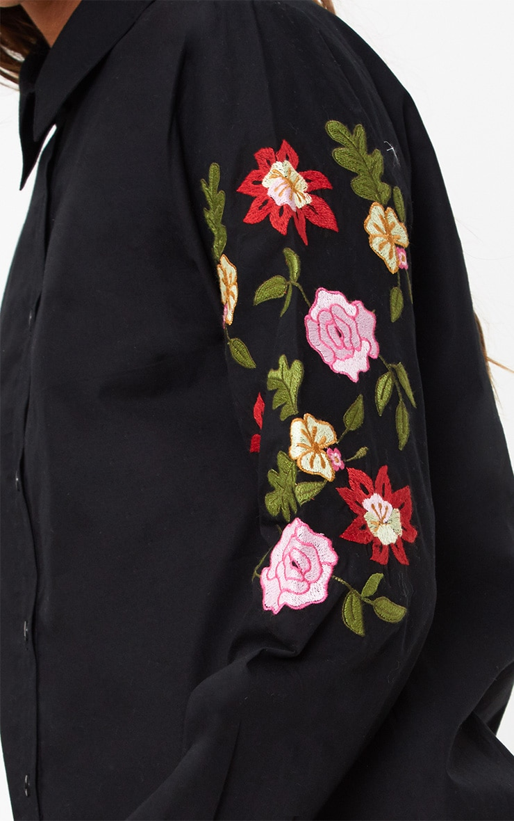 Black Floral Embroidered Shirt 5