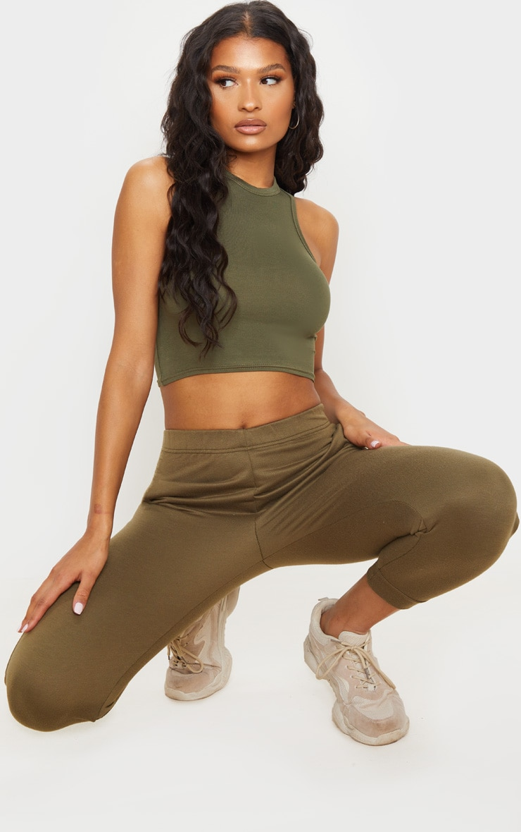 Basic Khaki Jersey Racerback Crop Top 3