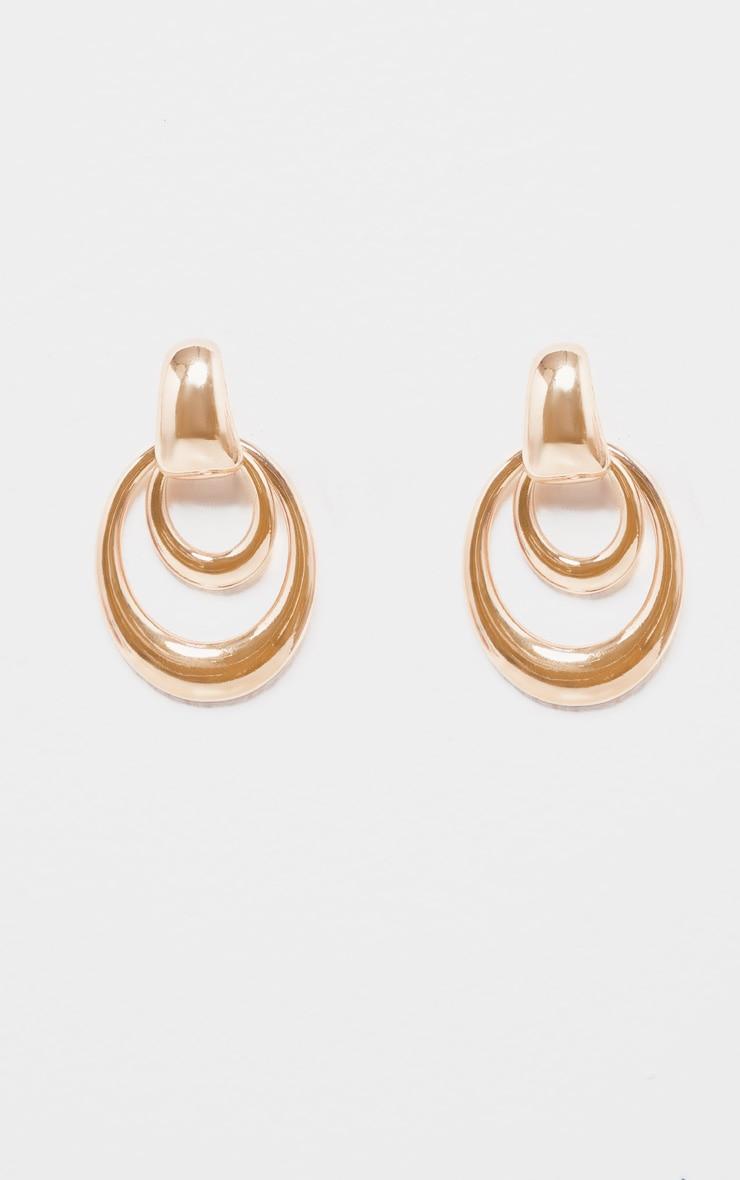 Boucle d'oreilles double ovales pendantes 2