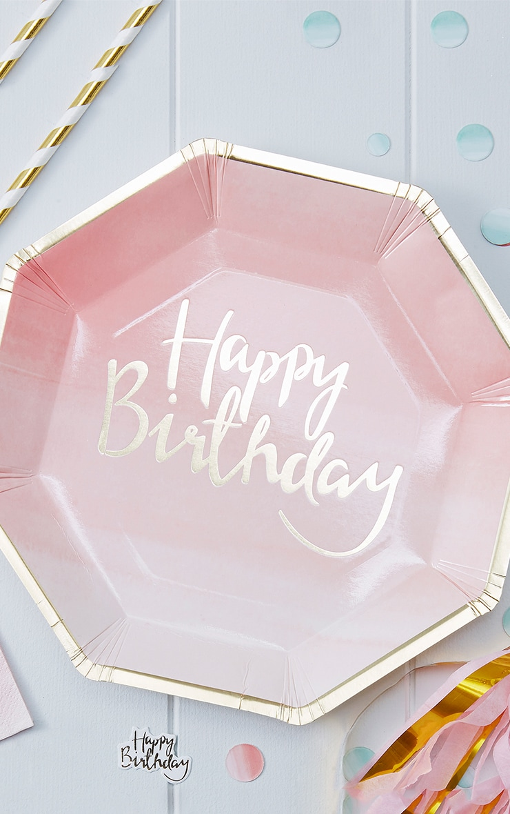 8 Pack Pink Ombre Happy Birthday Paper Plate 2
