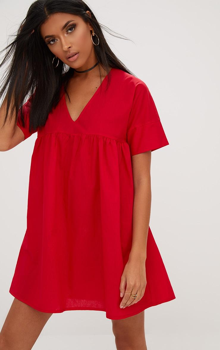 Red Poplin Smock Dress 1