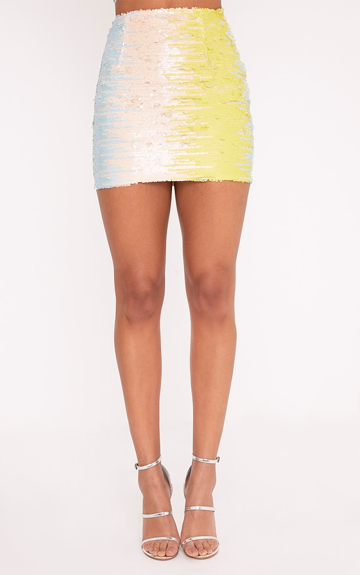 Haider Baby Blue Sequin Mini Skirt  2