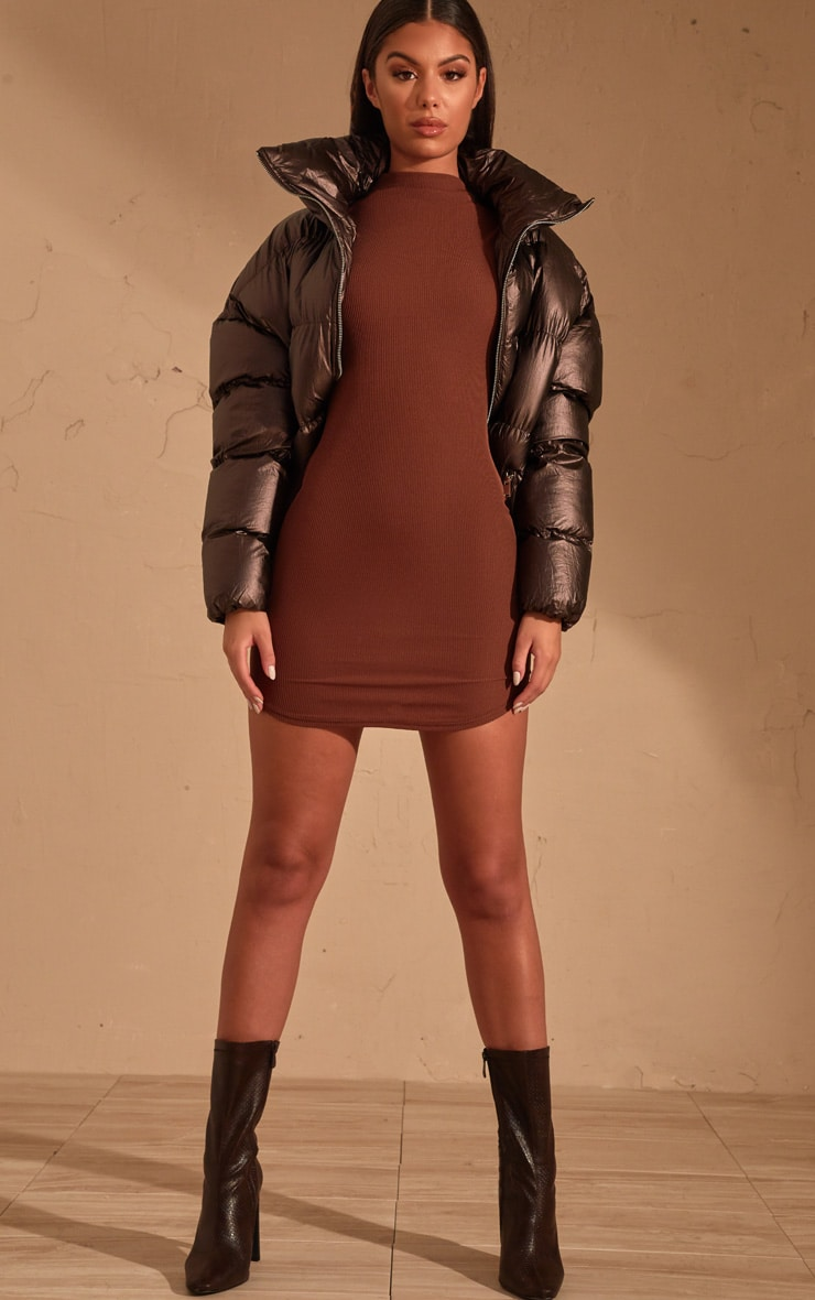 Chocolate Brown Ribbed High Neck Bodycon dress  1