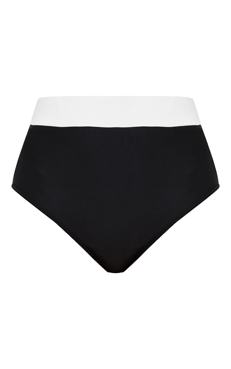 Black Contrast High Waisted Bikini Bottoms 3