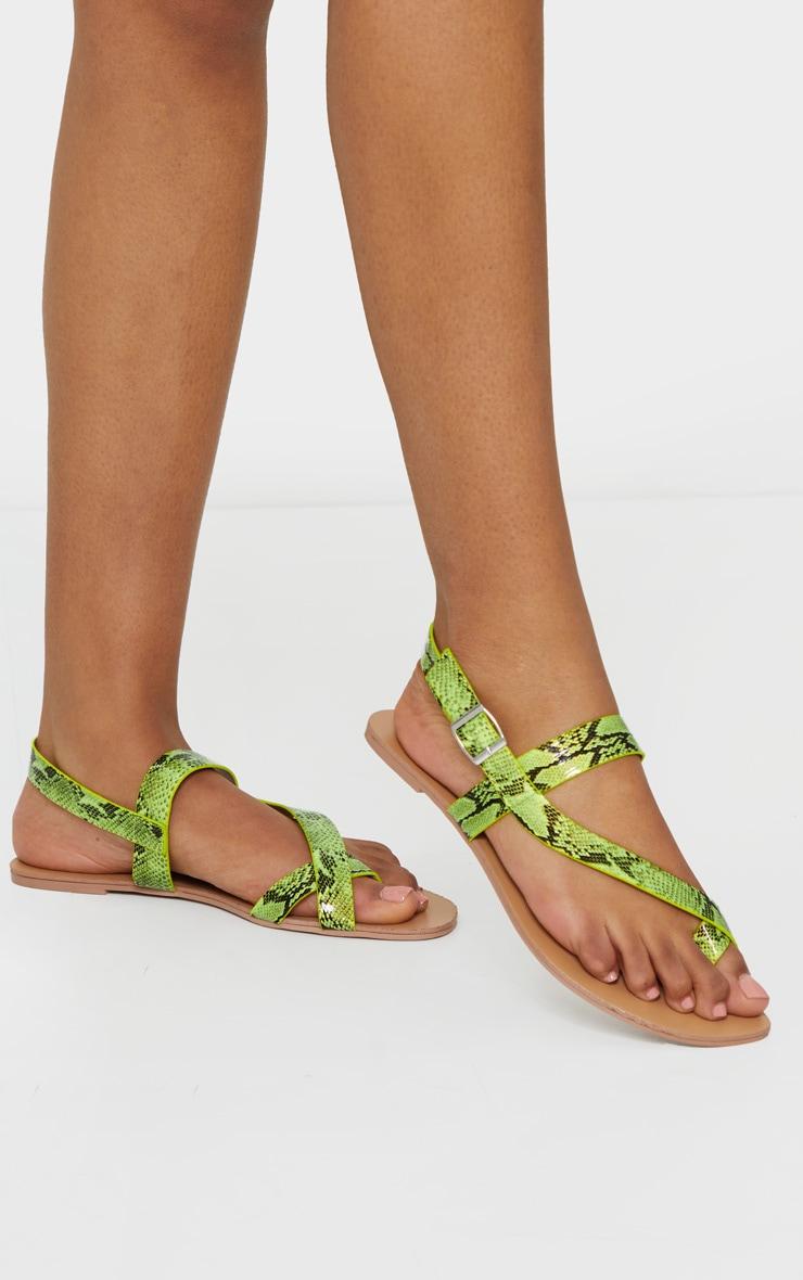Lime Asymmetric Toe Loop Sandals 1
