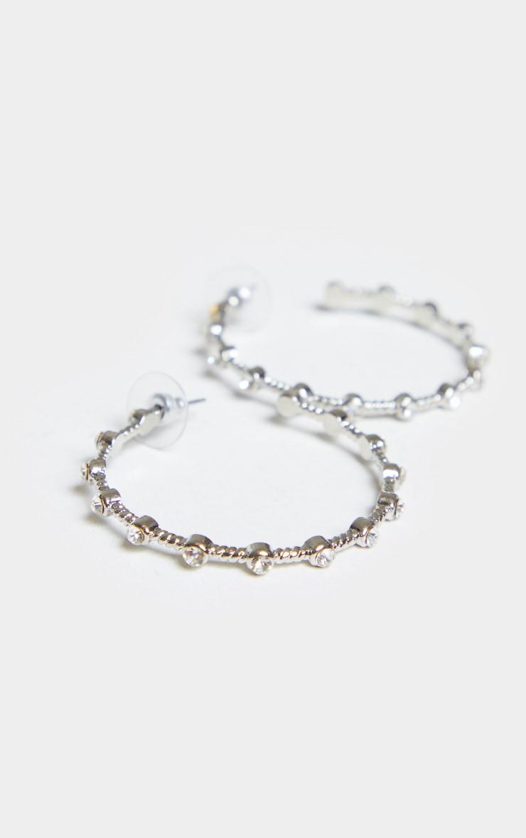 Silver Diamante Inset Large Hoop Earrings 3