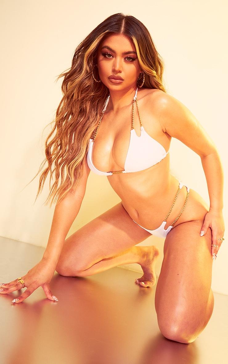White Chain Strap Triangle Bikini Top 3