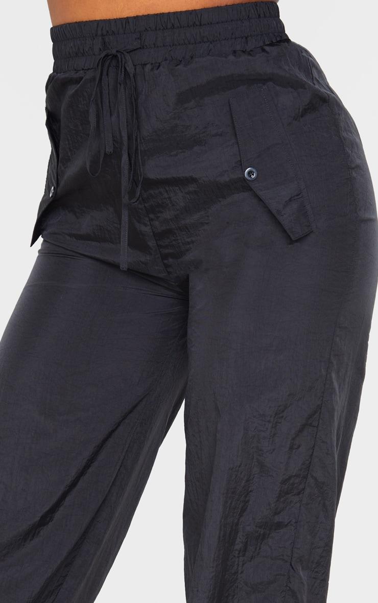 Black High Waisted Pocket Cuff Detail Trouser 5