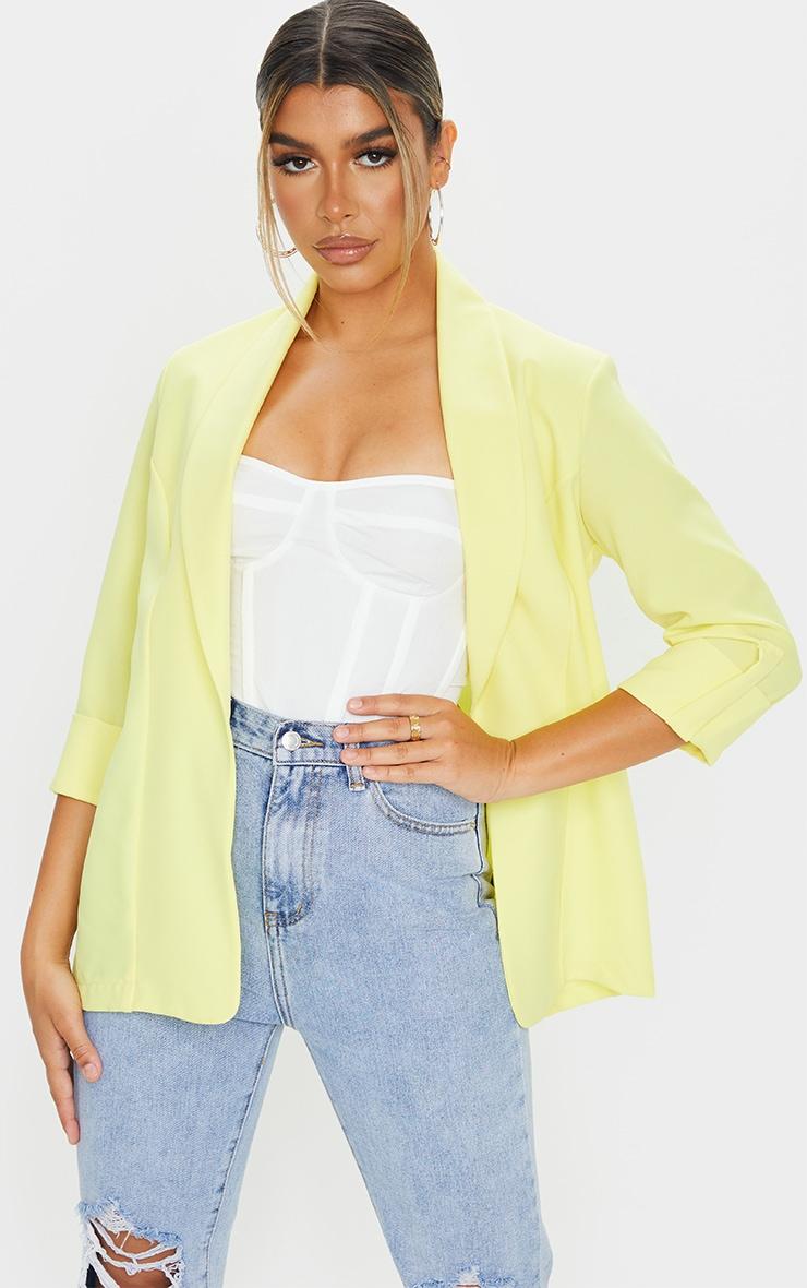 Lemon Woven Turn Up Sleeve Blazer 1