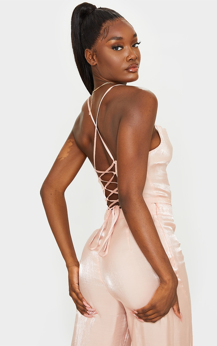 Tall Peach Strappy Tie Back Crop Top 1