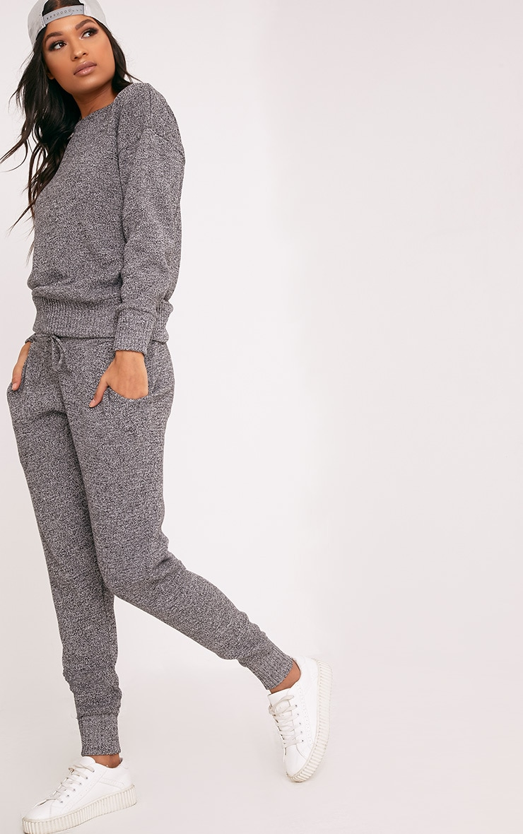 Grey Jogger Jumper Knitted Lounge Set 3