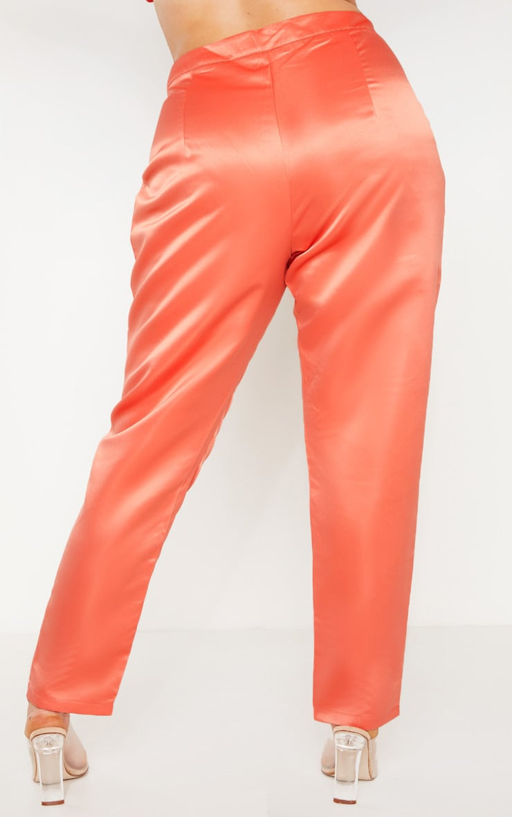 Plus Peach Tailored Satin Straight Leg Trouser  4