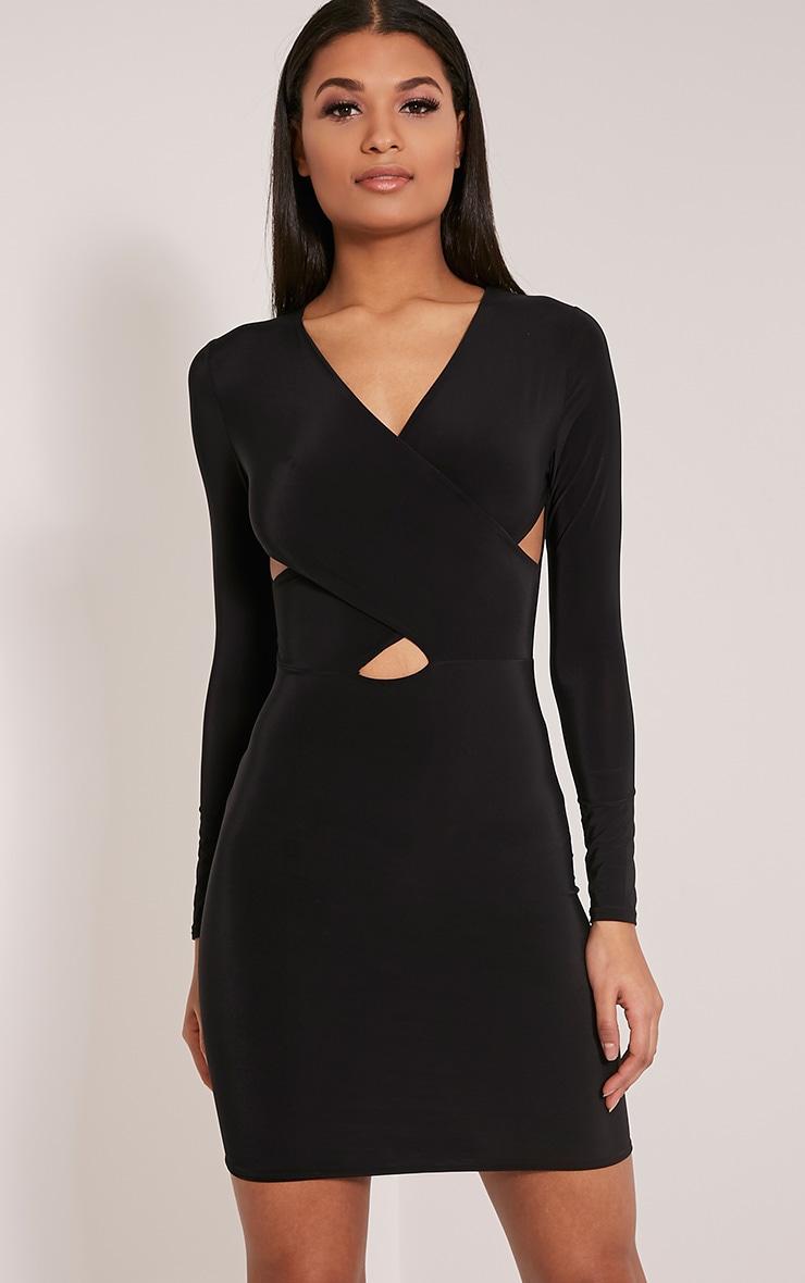 Tamaya robe moulante noire à manches courtes et devant croisé 4