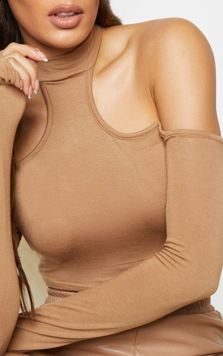 Tall Camel Cut Out High Neck Long Sleeve Jersey Crop Top 4