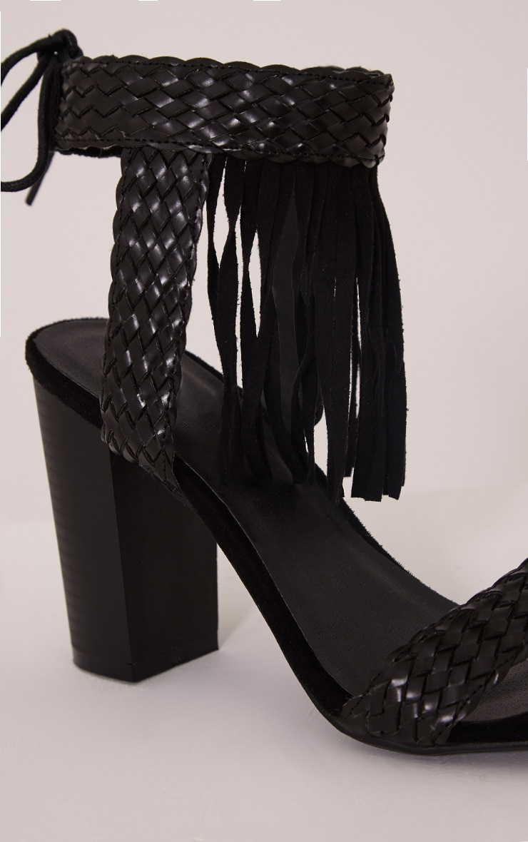 Kelli Black Fringed Heeled Sandals 5