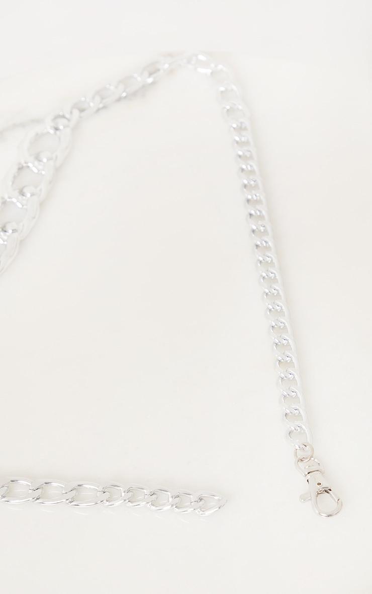 Silver Chunky Textured Chain Waist Belt 3