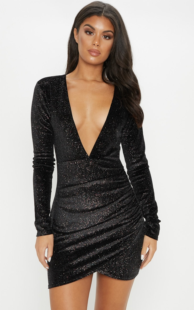 Black Velvet Multi Glitter Plunge Ruched Bodycon Dress 1