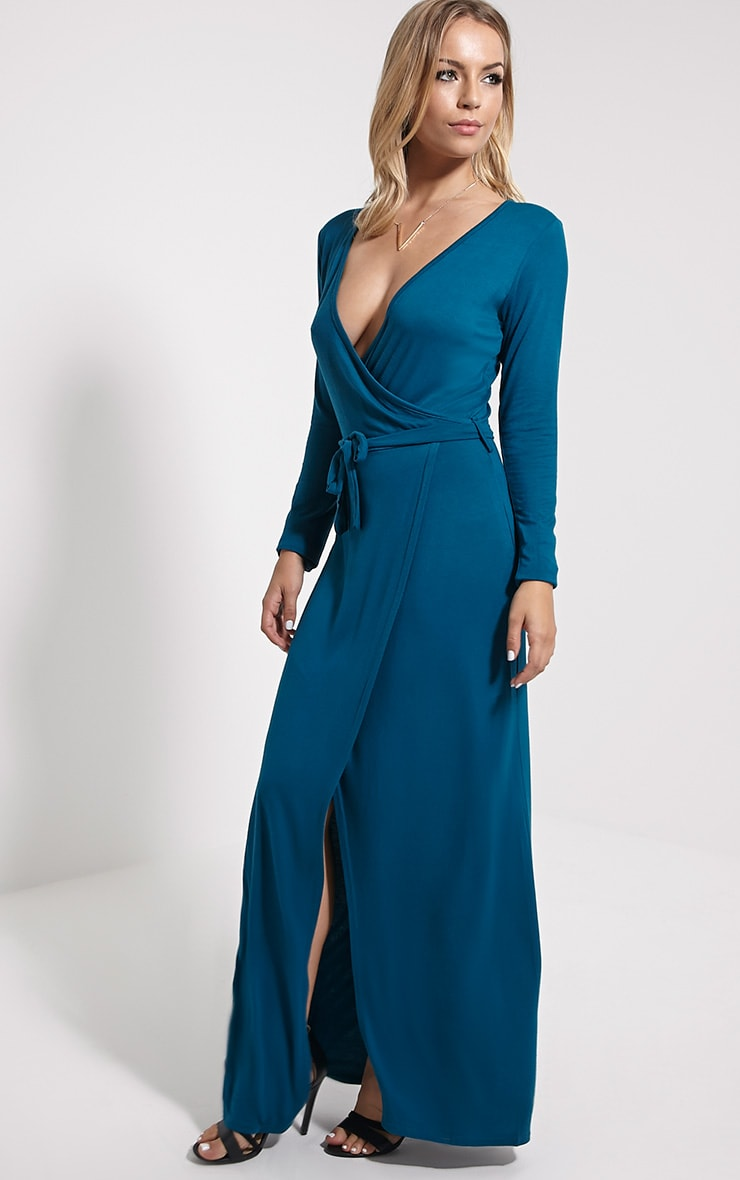 Pennie Teal Wrap Front Maxi Dress 4