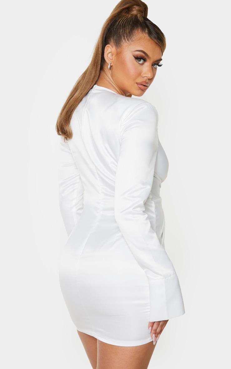 White Satin Twist Front Bodycon Dress 3