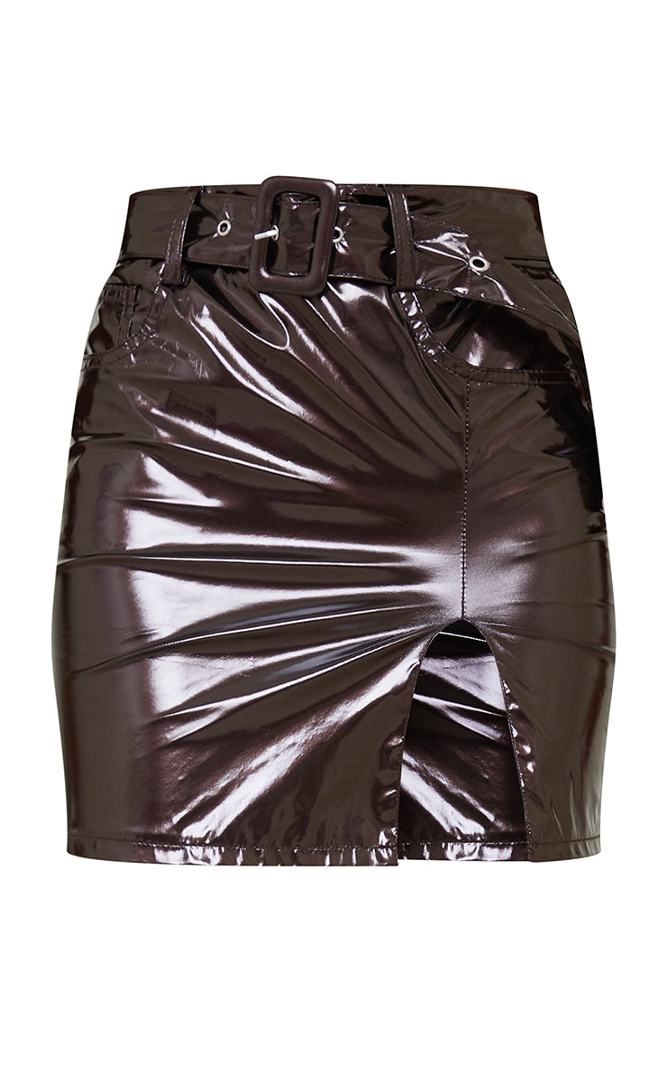 Chocolate Vinyl Belted Mini Skirt 5