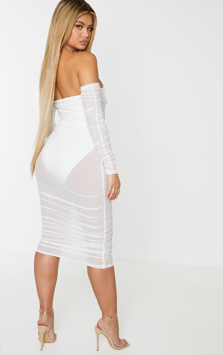 White Mesh Ruched Velvet Binded Bardot Midi Dress 2