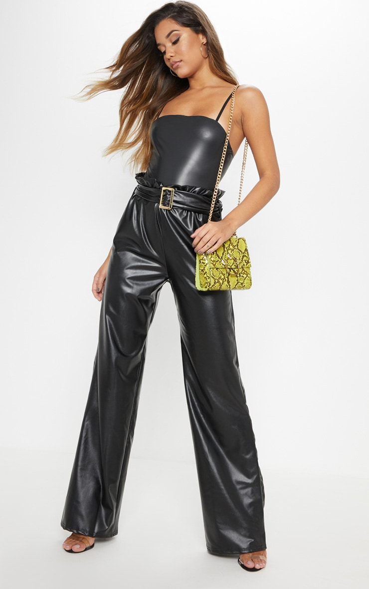 Black Faux Leather Belted Waist Wide Leg Trouser 1