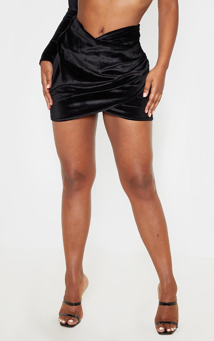 Black Velvet Wrap Over Ruched Mini Skirt 2