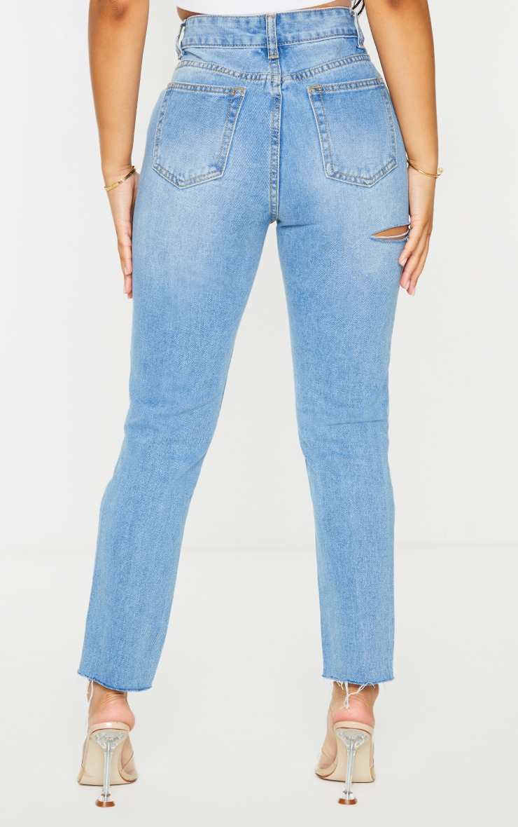 Petite Light Wash Distressed Mom Jeans 3