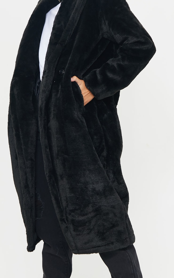 Black Large Lapel Midaxi Faux Fur Coat 4
