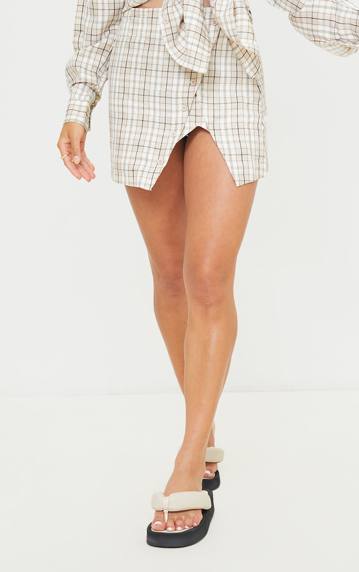 Petite Stone Checked Split Button Side Mini Skirt 2