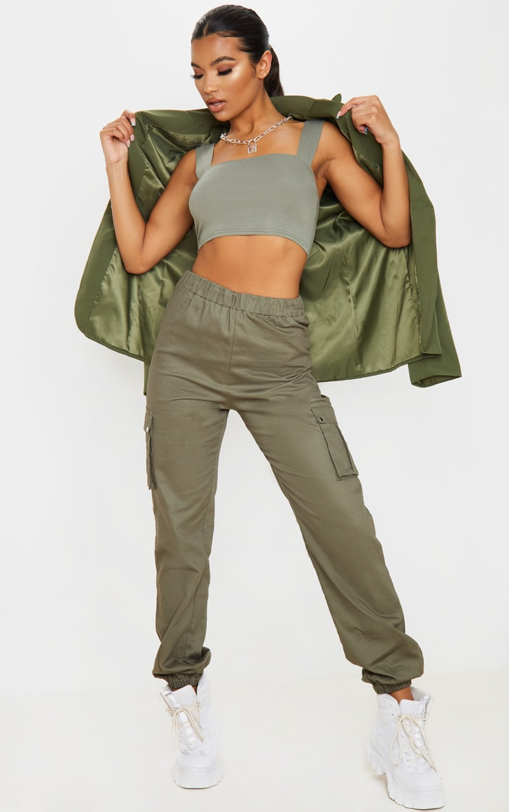 Khaki Jersey Strappy Cut Out Crop Top 4
