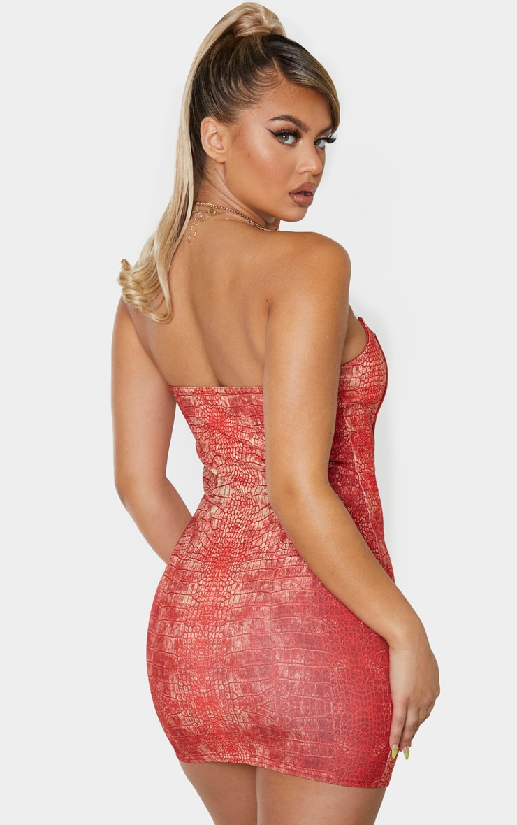 Red Snake Print Slogan Binded Detail Clear Strap Bodycon Dress 2
