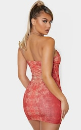 Red Snake Print Binded Detail Clear Strap Bodycon Dress 2