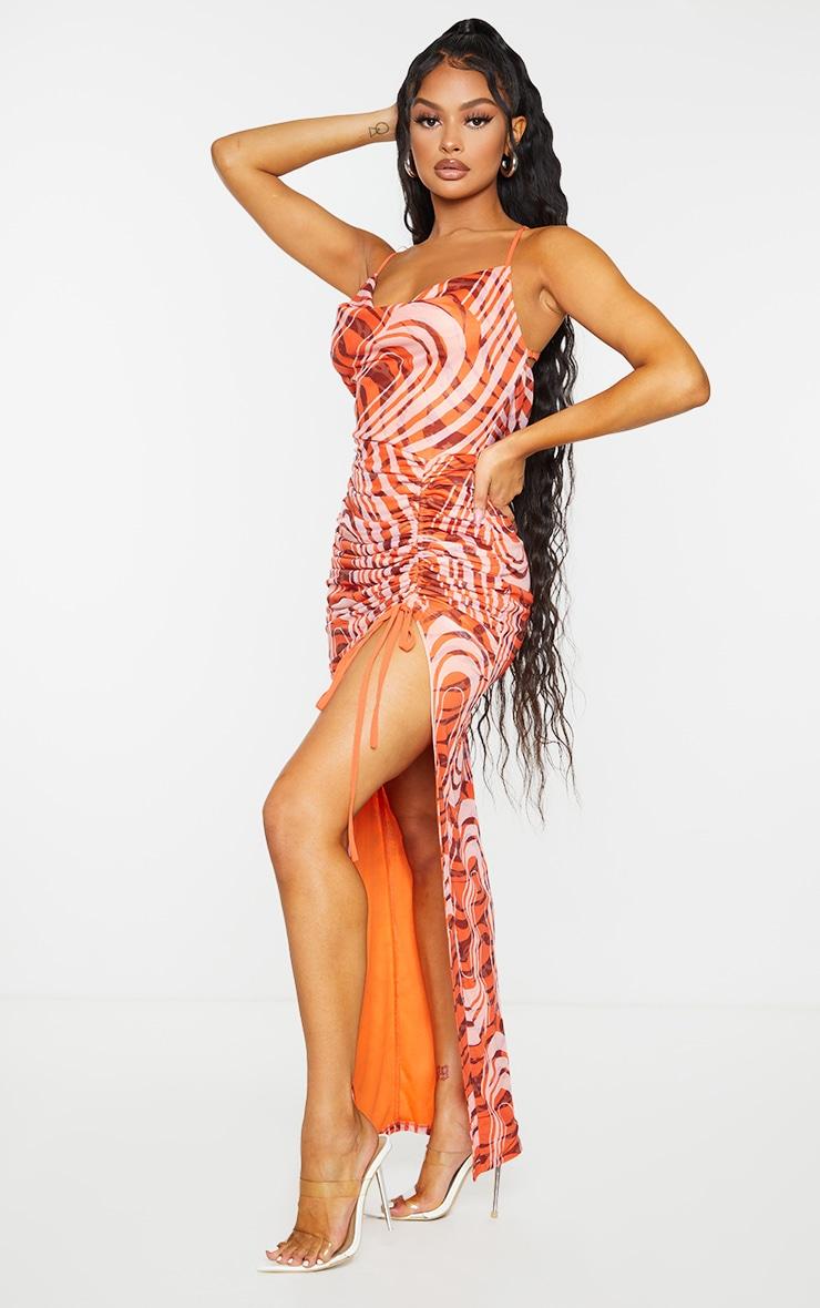 Orange Swirl Print Cowl Neck Strappy Back Ruched Maxi Dress 3