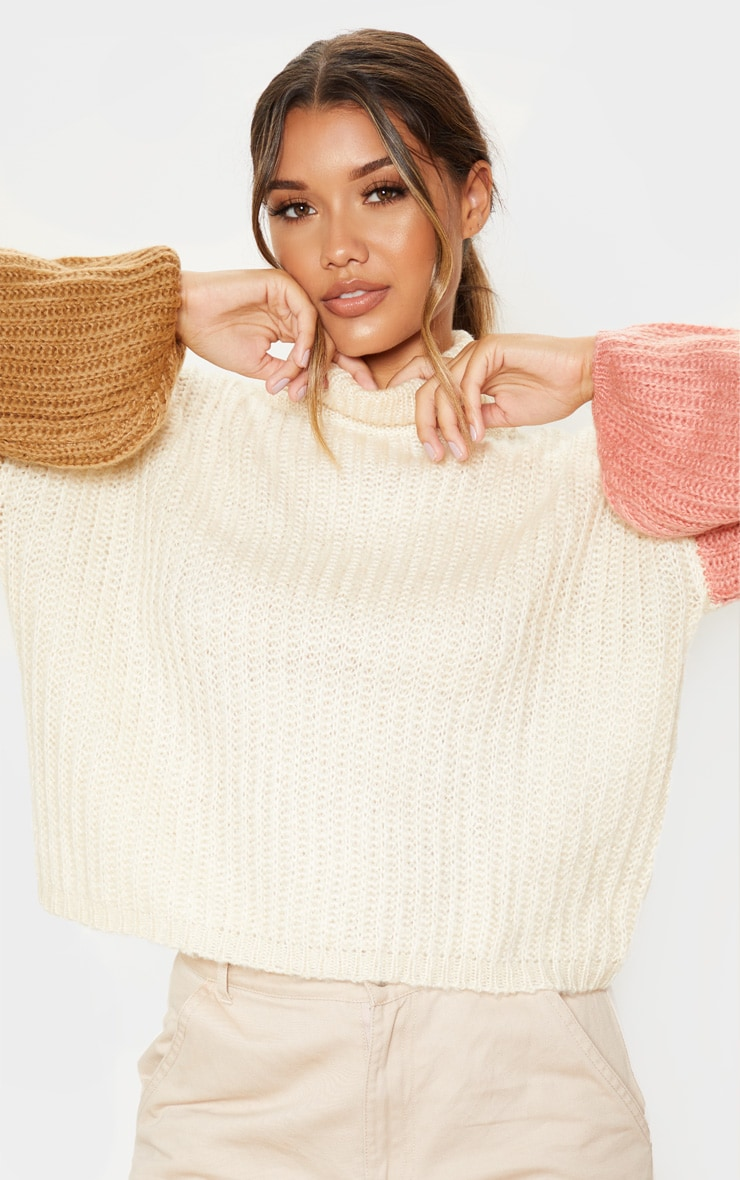 Cream Colour Block Fluffy Knit Sweater 5