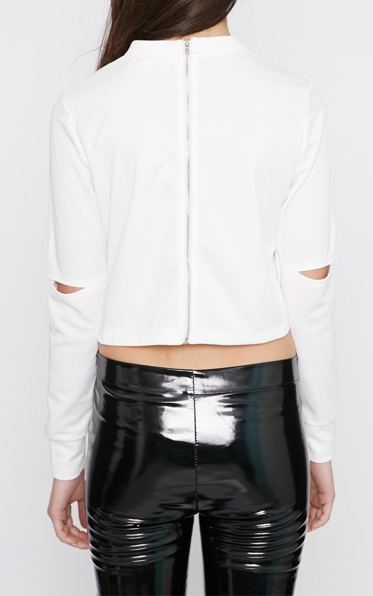 Lala White Split Arm Turtle Neck Crop Top  2