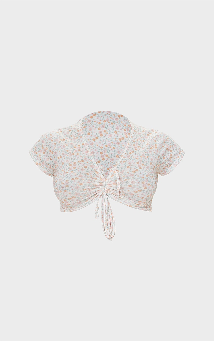 Cream Floral Print Tie Front Top 5