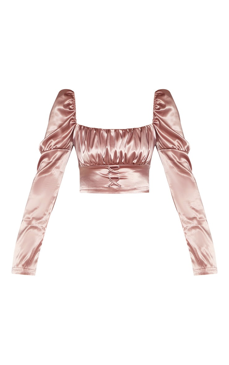 Tall Dark Blush Satin Corset Detail Long Sleeve Crop Top 3