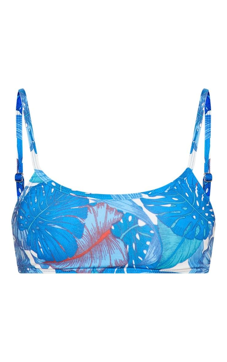 Blue Palm Low Scoop Neck Bikini Top 3