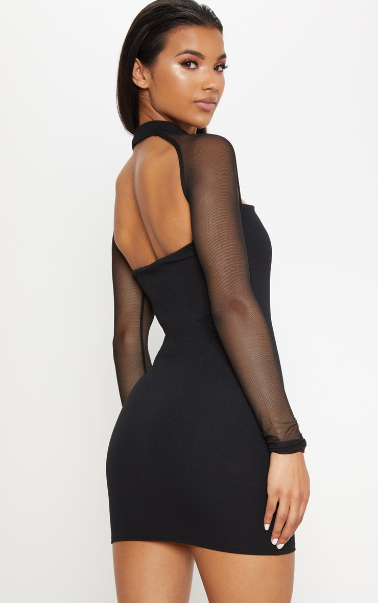 Black Choker Neck Mesh Sleeve V Plunge Bodycon Dress 2