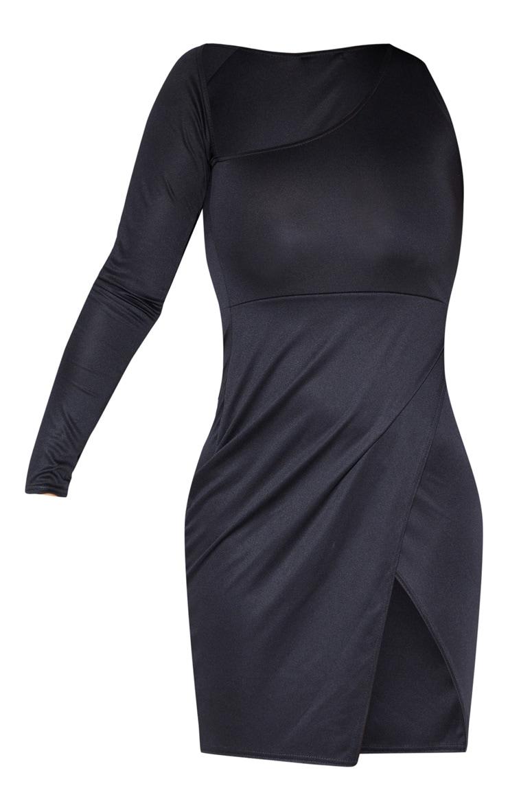 Robe moulante noire asymétrique à manche unique 3