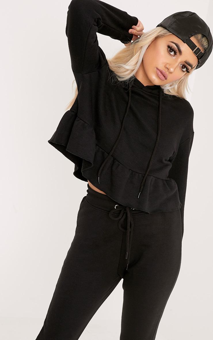 Nilda Black Frill Hoodie 1