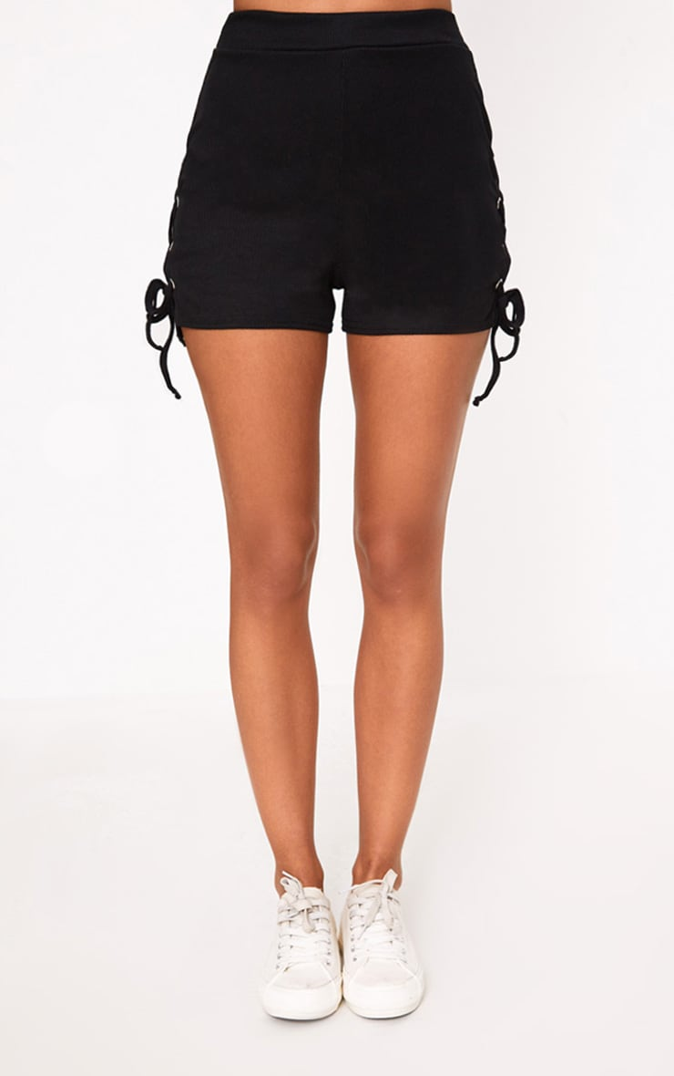 Black Ribbed Lace Up Shorts 2