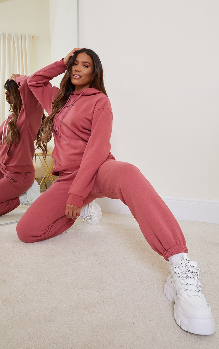 PRETTYLITTLETHING Deep Rose Embroidered Slogan Hoodie 3