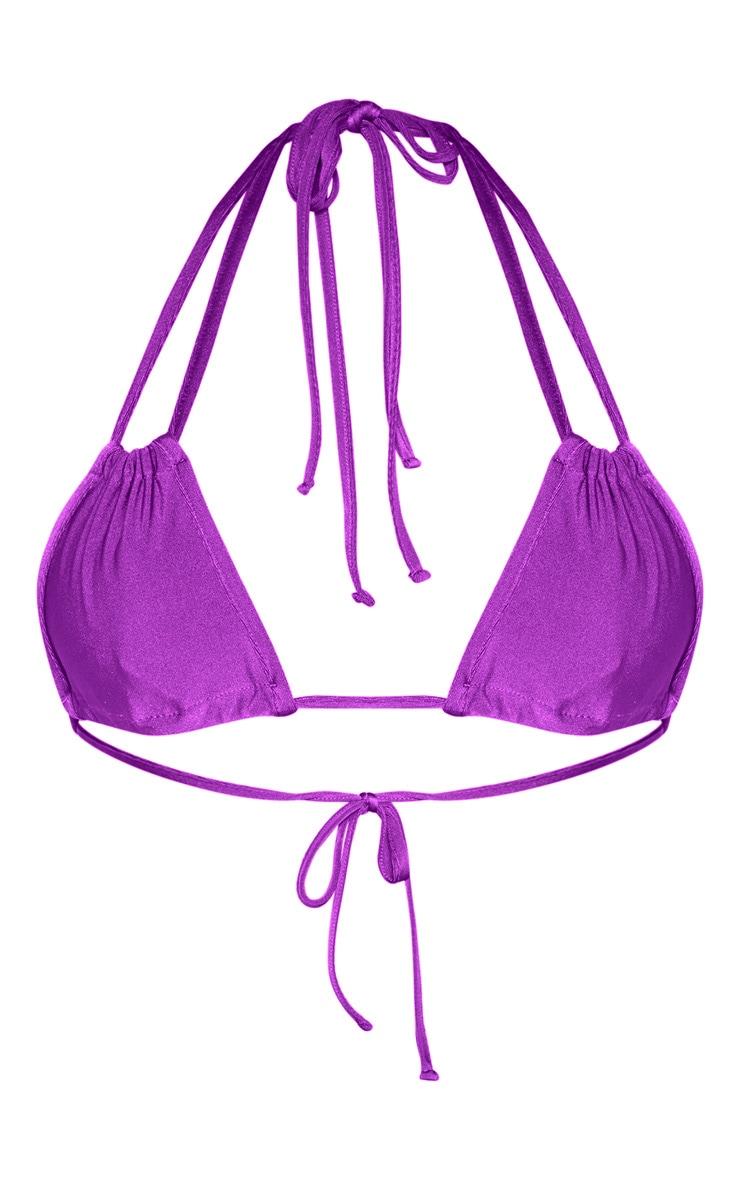Purple Halterneck Mini Ruched Triangle Bikini Top 6