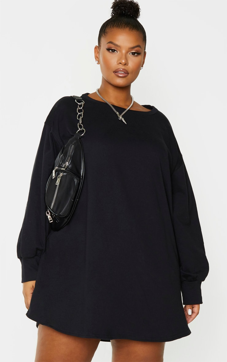Plus Black Oversized Sweater Dress 1