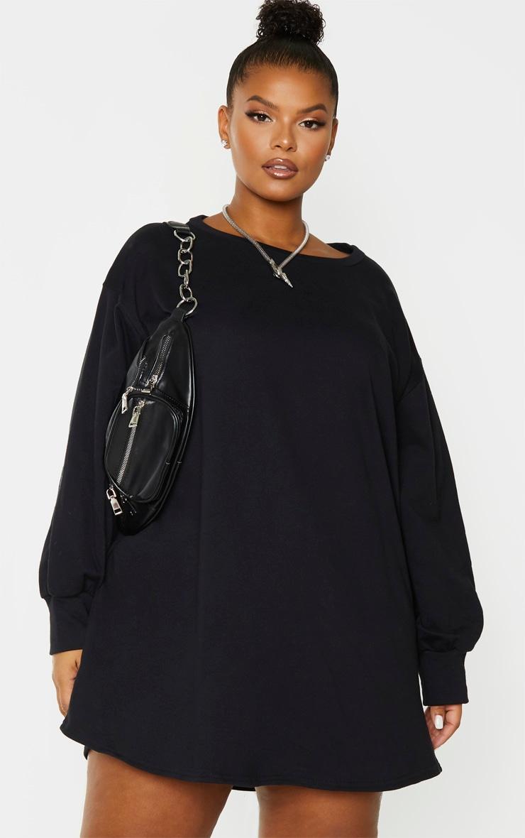 Plus Black Oversized Sweatshirt Dress 1